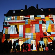 A projection is displayed using video mapping on the Hotel Sale, which houses the Picasso Museum, as part of the 11th annual European museum night in Paris, May 16th 2015. The European museum night was created in 2005 and allows the public to visit participating museums at night for free. Credit: AFP