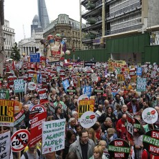 Huge crowd of Anti-Austerity-Protest marched on June 20 through #London. Demonstrators filled Parliament Square and stretched to Trafalgar Square.