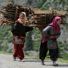 Kashmiri girls carry bundles of wood collected in a nearby forest, as they walk home near Niligrath Sonamarg in Srinagar, Jammu and Kashmir, India on 2nd July 2015. Credit: AFP