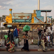 An old locomotive is displayed as a monument in Lubumbashi, Democratic Republic of Congo on May 26th 2015. Credit: AFP