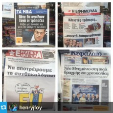 From @henryjfoy Greece newspapers on Monday: black front pages, chained up wallets, drowned by the EU and a rogues gallery of the country's creditors.