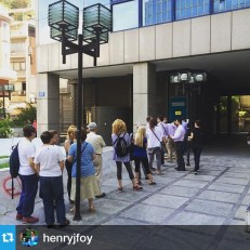 From @henryjfoy Another day in Athens, another ATM queue. 22 people queue for their daily €60 at a bank on Akadimias Street