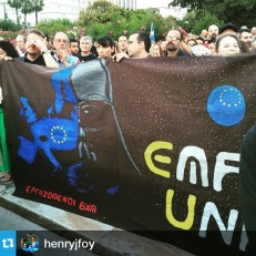 From @henryjfoy My favourite banner at tonight's Vote No Greferendum rally: EU as a Darth Vader-led evil empire (complete with Euro Death Star)