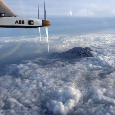 Solar Impulse 2 flies near Nagano, toward Nagoya, Japan, June 1st 2015. The bid to make a non-stop solo flight across the Pacific Ocean in the solar-powered plane will be delayed due to bad weather. Solar Impulse 2 left Nanjing, China on May 31st to start a six day journey to Hawaii. Credit EPA/ Solar Impulse