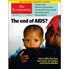 """The Economist's cover from 2011: The lead article was titled """"The end of AIDS?"""""""