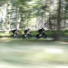 Team Sky with Britain's Christopher Froome train on their time-trial bicycles near Utrecht, Netherlands, July 3rd 2015. The three-week long Tour de France race starts on July 4th with cyclists racing over 3,360 kilometres.Credit: AP
