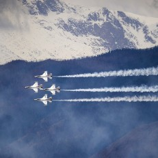 The Air Force Thunderbirds practice in the skies above The United States Air Force Academy in Colorado Springs, Colorado, May 26, 2015, in preparation for their graduation. Credit: AP