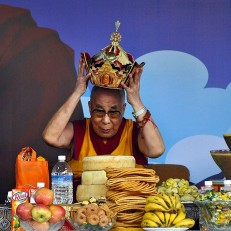 Tibetan spiritual leader the Dalai Lama celebrates his 80th birthday at the Tsuglagkhang Temple in Mcleod Ganj near Dharamsala, India, June 22nd 2015. According to Tibetan tradition, a person's 80th birthday bears special significance and is celebrated as a momentous life milestone. Credit: EPA